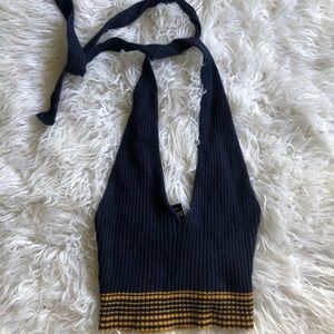 Blue ribbed vneck halter top